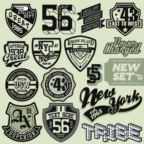 Retro logos by 磊 敖 on 图片 T shirt label, Graphic