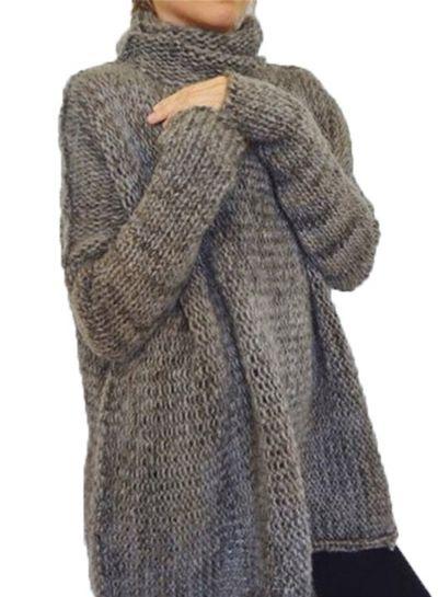4c56f5d978 Women s Fashion Turtleneck Long Sleeve Loose Fit Pullover Sweater  novashe.com