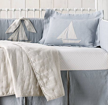 Liquéd Linen Sailboat European Anchor Print Nursery Bedding Collection Collections Restoration Hardware Baby Child