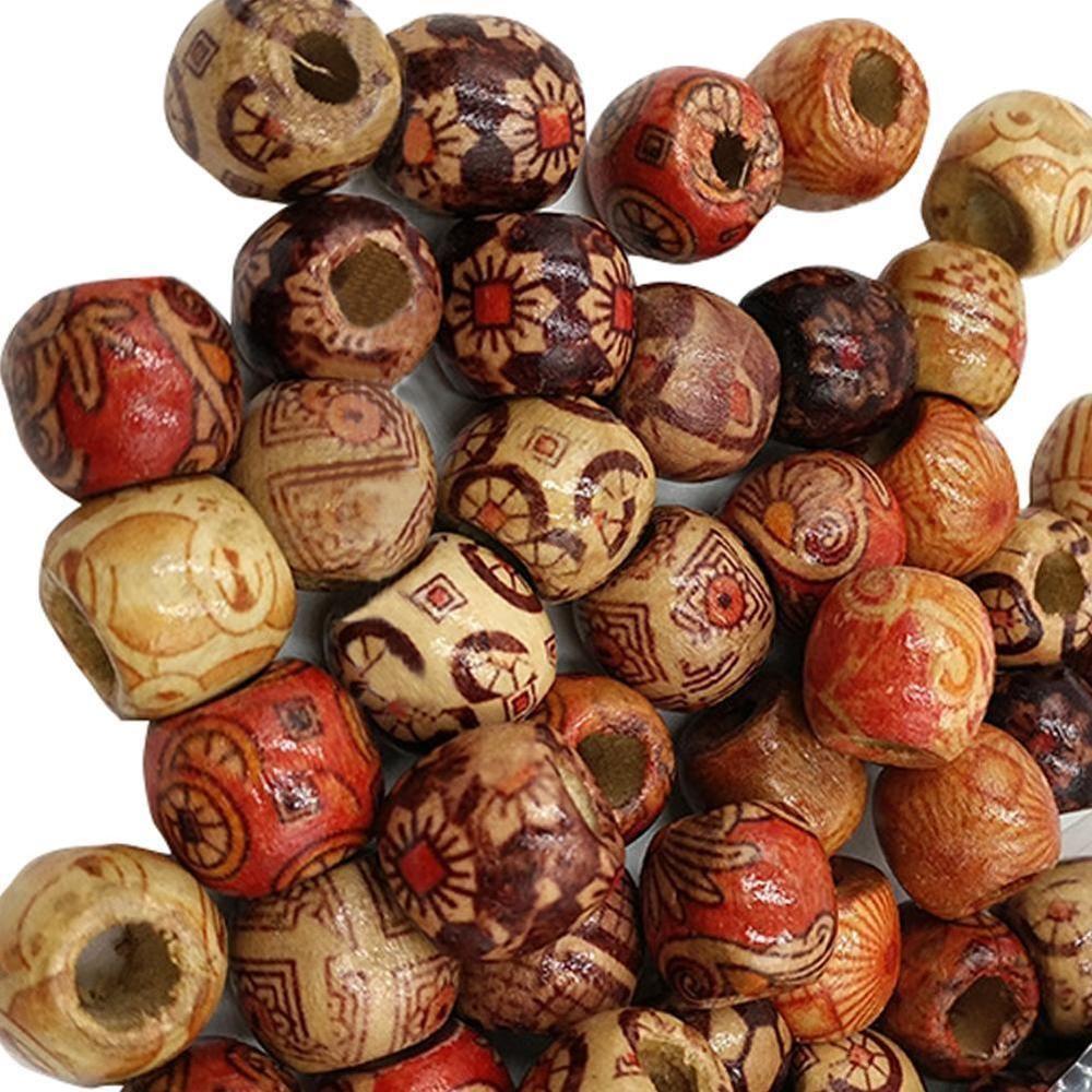 200pcs Ethnic Boho Wood Beads Mix Fit Jewelry Charm Pendant Bracelet Making