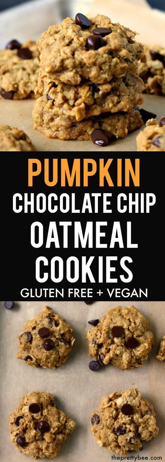 Pumpkin Chocolate Chip Oatmeal Cookies #chocolatechipcookies