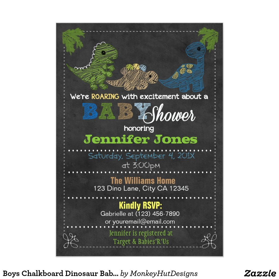 Boys Chalkboard Dinosaur Baby Shower Invitations | C.J\'s Baby Shower ...