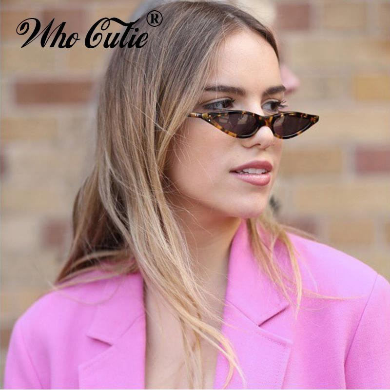 a68fbc5eac WHO CUTIE 2018 Small Triangle Cat Eye Sunglasses Sexy Women Leopard Cateye  Frame Skinny Narrow Retro Slim Shades 520