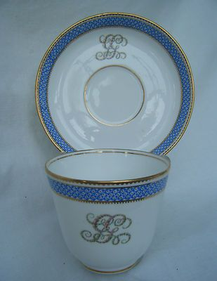C19th Century Porcelain Floral Armorial Cup & Saucer.