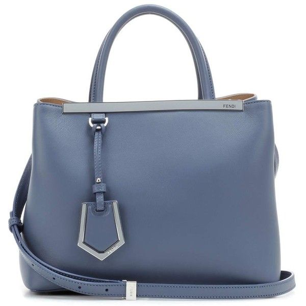 Fendi 2Jours Petite Leather Tote (56 340 UAH) via Polyvore featuring bags, handbags, tote bags, blue, tote purses, leather handbag tote, blue purse, leather tote bags и genuine leather tote
