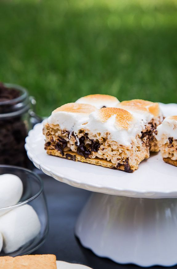 Smores Rice Crispy Treats - S'mores Rice Krispie Treats