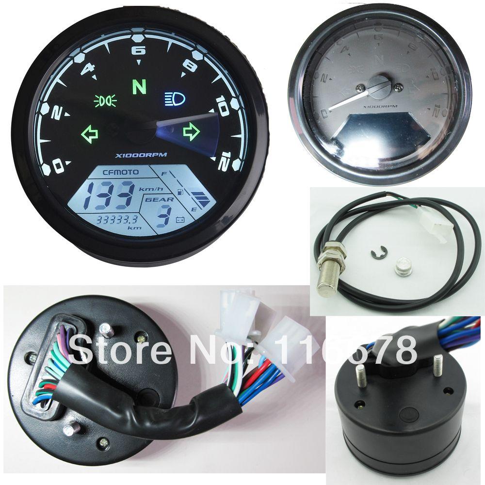 12000 RMP kmhmph Universal LCD Digital Odometer Speedometer Tachometer Gear indicator