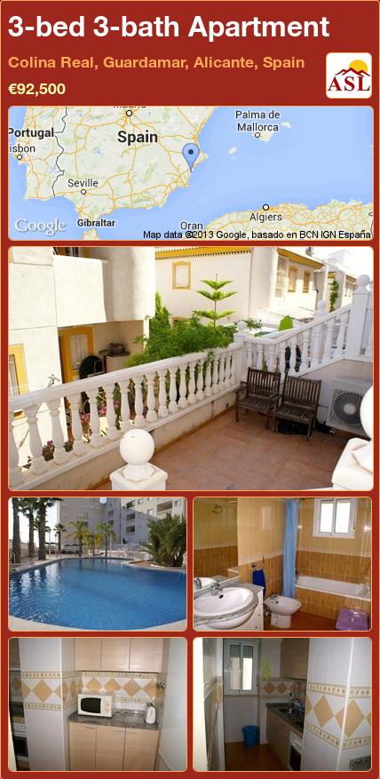3 Bed 3 Bath Apartment In Colina Real Guardamar Alicante Spain 92 500 Propertyforsaleinspain Guardamar Del Segura Mallorca Spain
