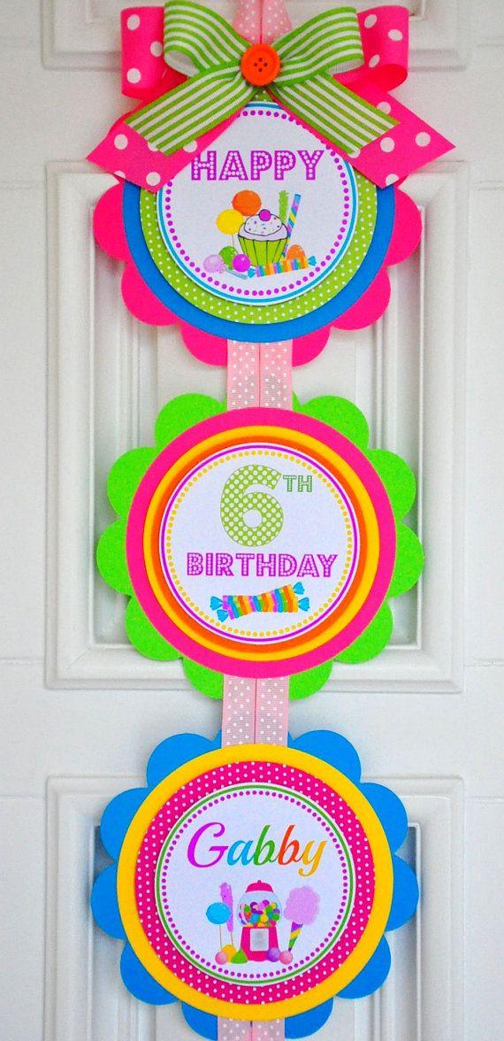 Candyland Vertical Door Hanger Welcome Door by thepaperkingdom #candylanddecorations