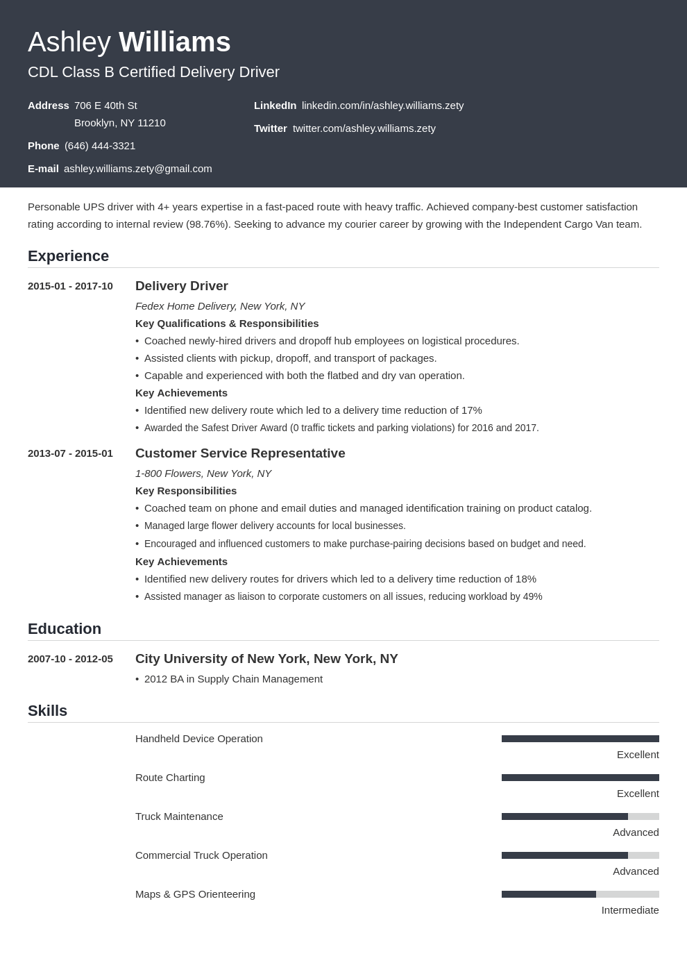 delivery driver resume example template influx in 2020
