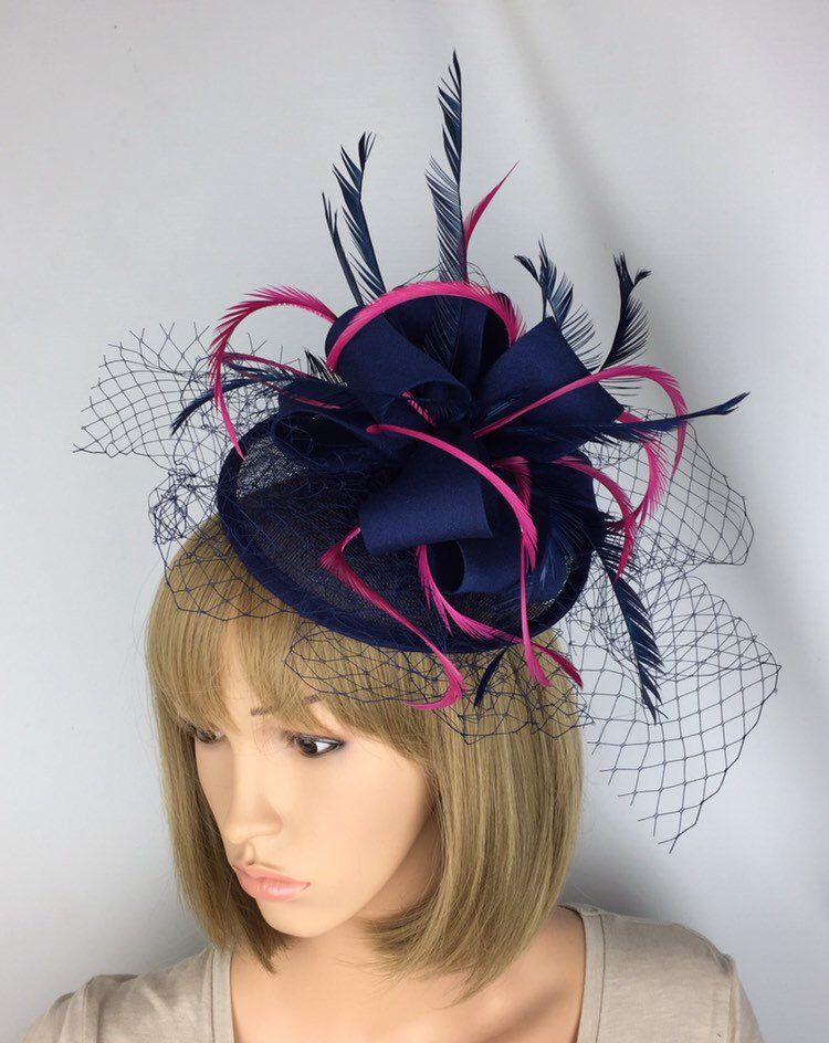 518b03b6 Women's Accessories Fascinators & Headpieces Special Occasion Wedding Races  Fuchsia Pink Comb Hat Fascinator with Feathers
