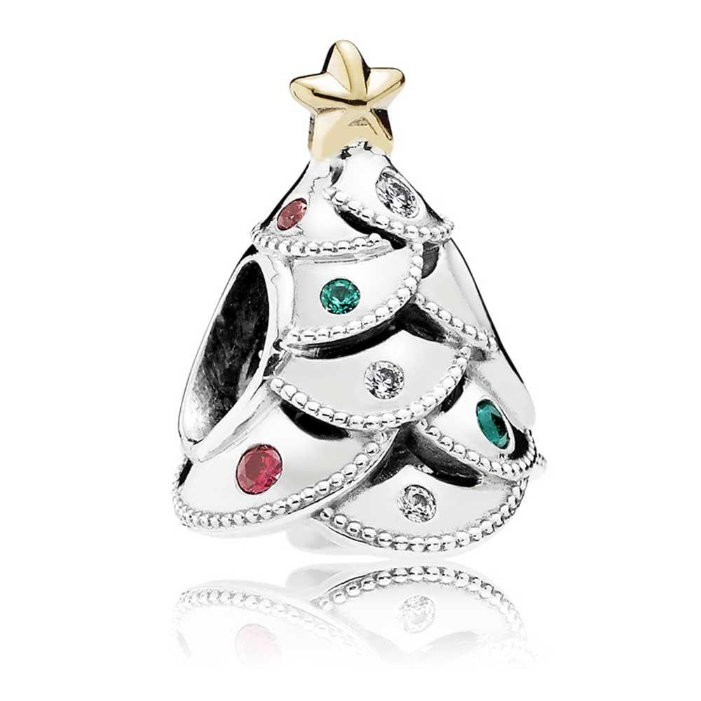 PANDORA Silver 14ct Gold Festive Tree Charm 791999CZRMX Gold  - Christmas Tree Charms