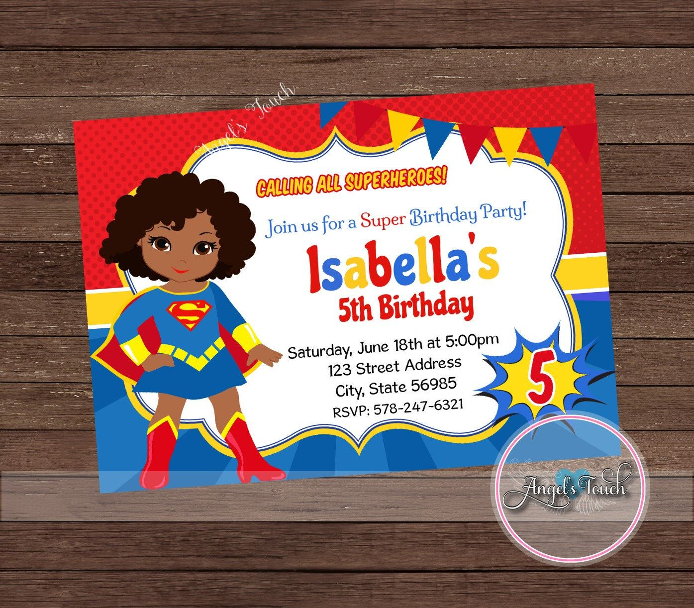 Super Girl Party Invitation, African American Supergirl Invitation ...