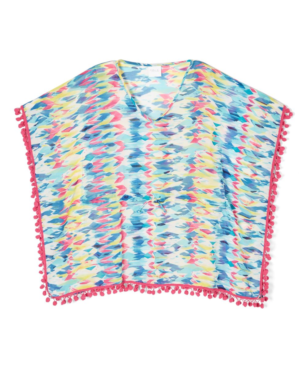 Blue & Pink Geometric Pom-Pom Kaftan - Girls