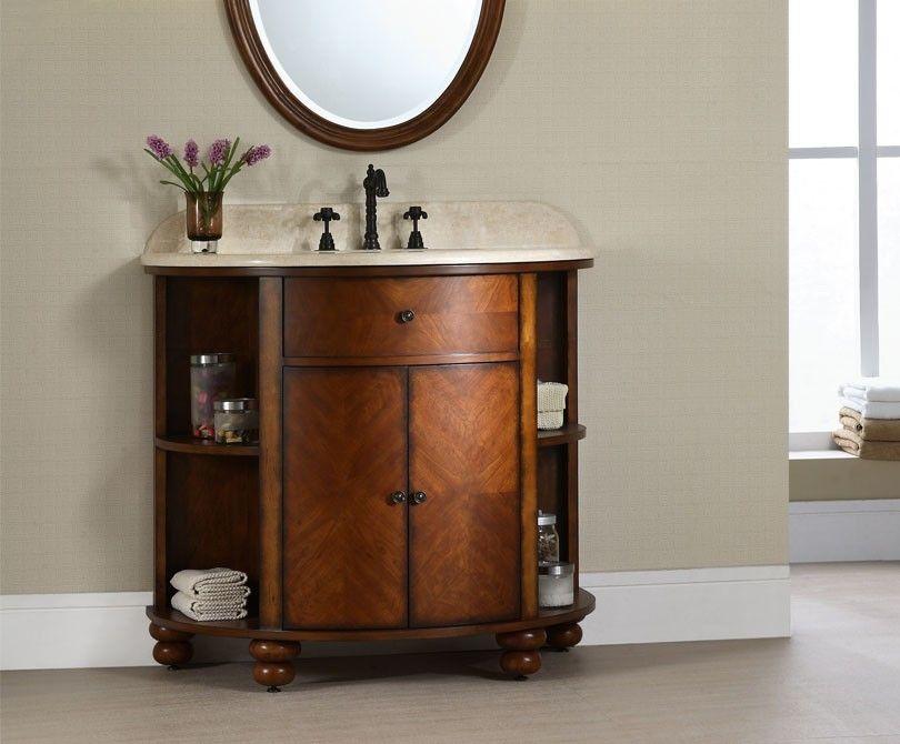 The Xylem 38 Carlton Bathroom Vanity Stained Cherry Veneer Finish Radius Design With Open Bathroom Vanity Antique Bathroom Vanity Traditional Bathroom Vanity