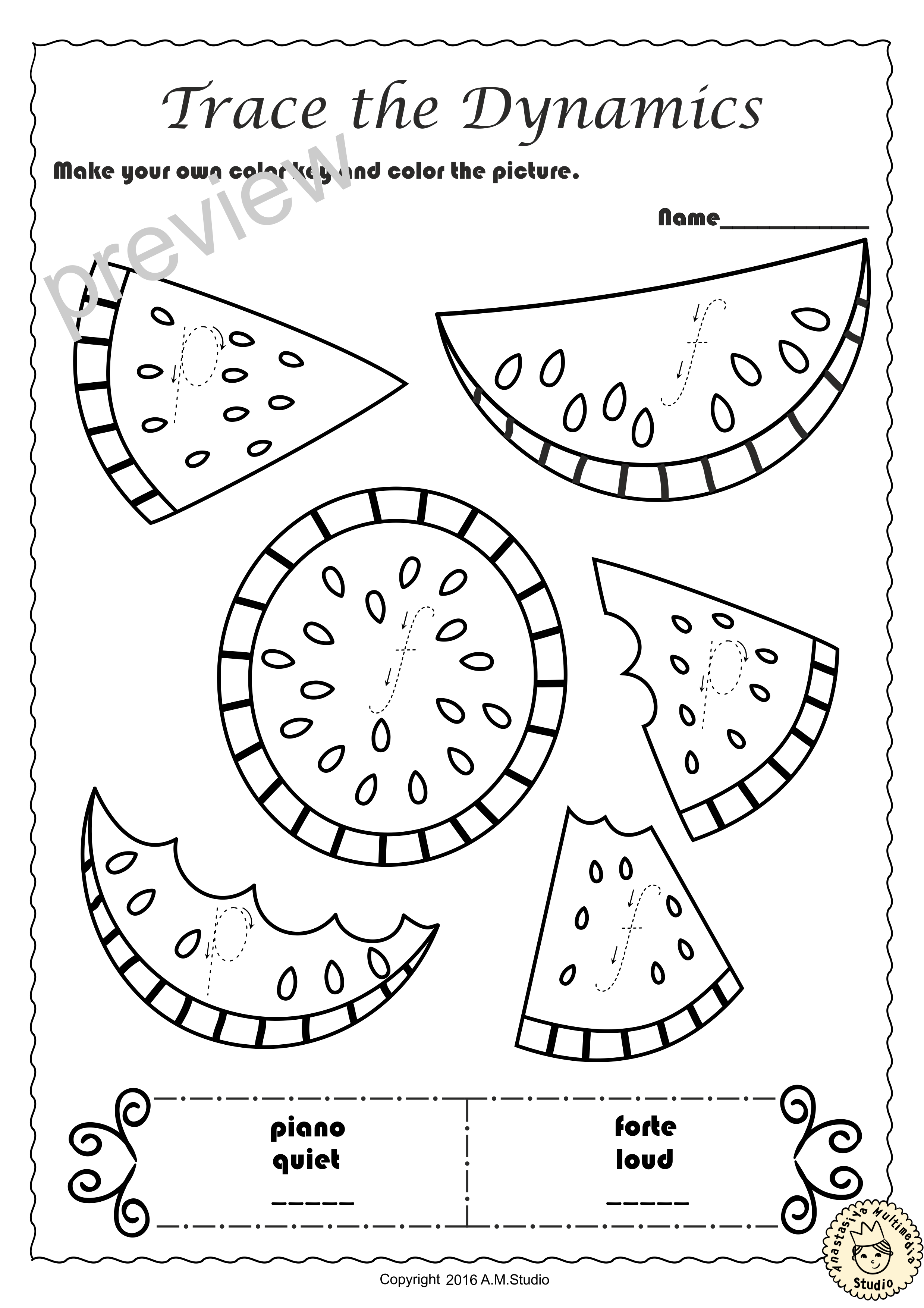 Summer Trace And Color Music Worksheets