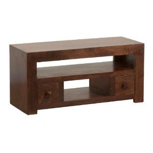 Homescapes Dakota Tv Dvd Unit 2 Drawer Dark 100