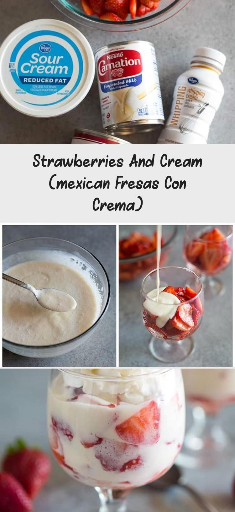 Photo of Strawberries and Cream (Fresas con Crema) is a traditional Mexican dessert recip…