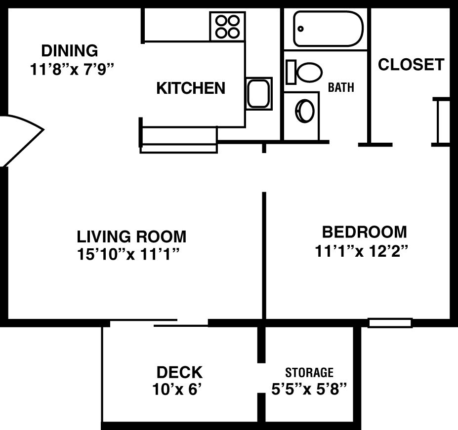 Vs Hunting Ridge Apartments: 606 Sq. Ft. One Bedroom With Deck (does Have Option Of