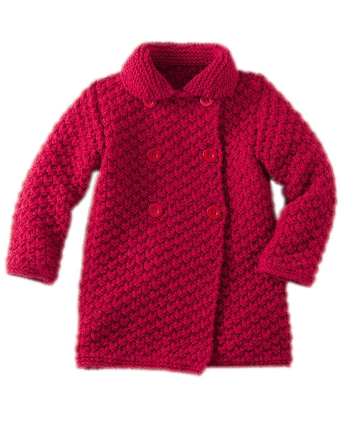 Tricot gratuit : le manteau enfant au point fantaisie