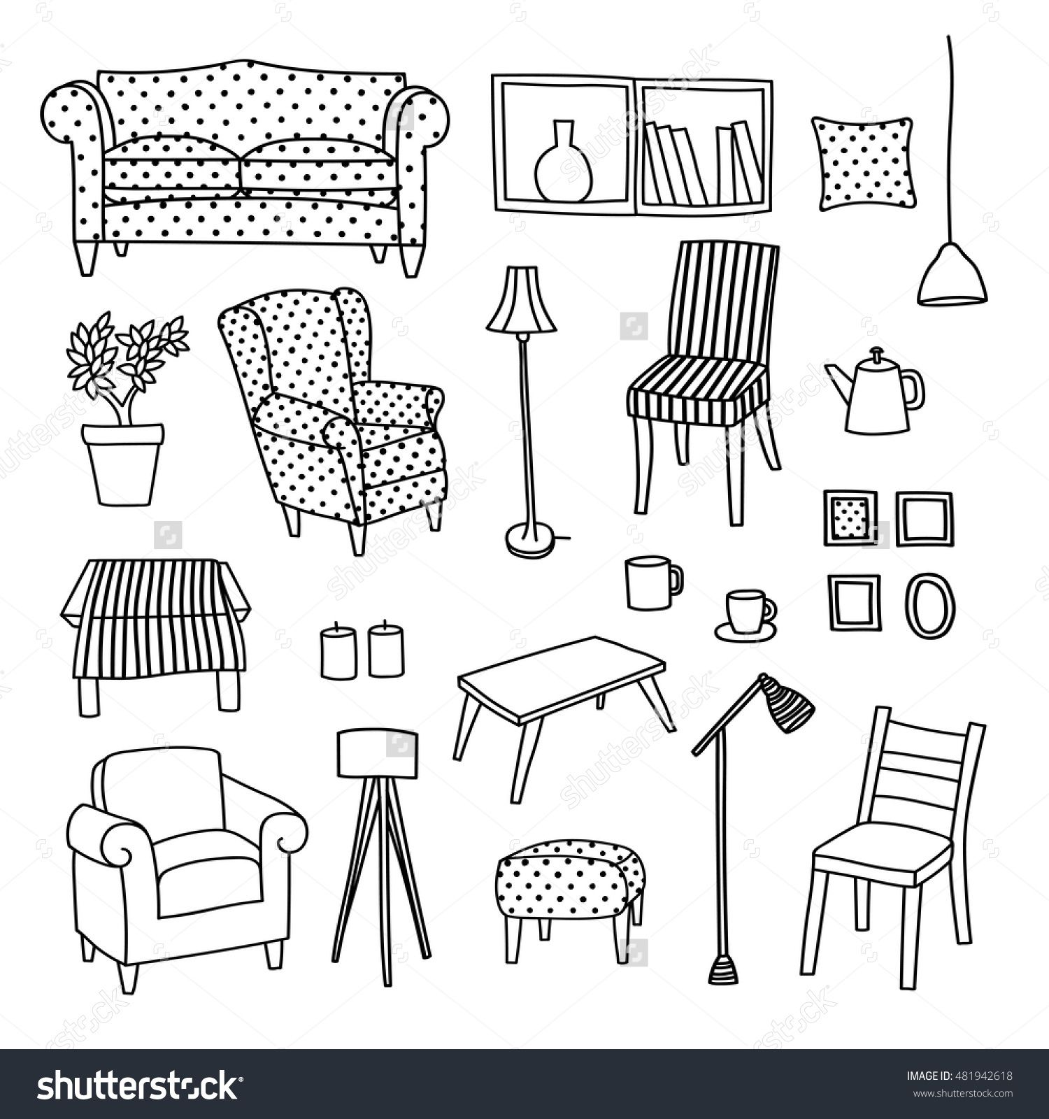Vector Set Of Furniture Of Living Room. Hand Drawn Style