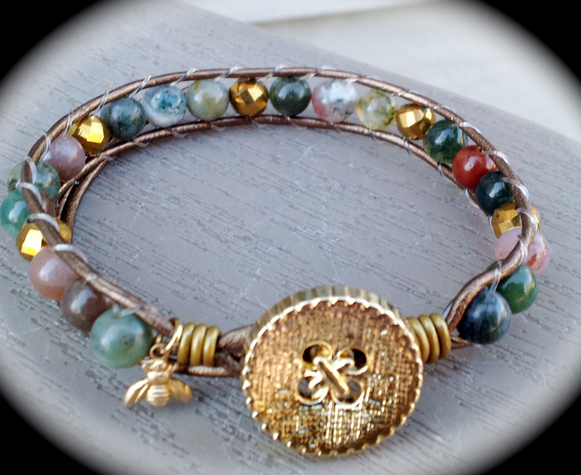 Leather wrap bracelet, made by Dizzy Bees