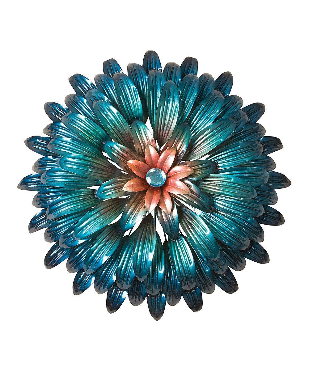 Turquoise u peach flower wall sculpture home decor pinterest