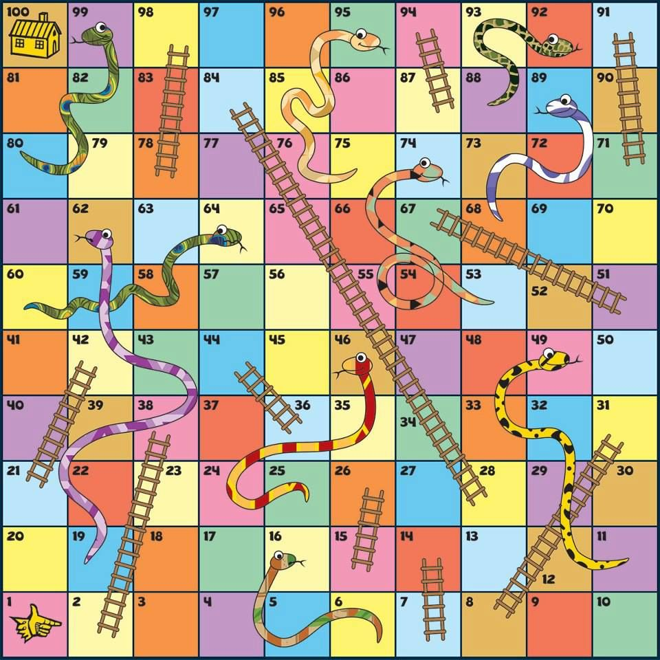 Snakes and ladders template found at https for Printable snakes and ladders template