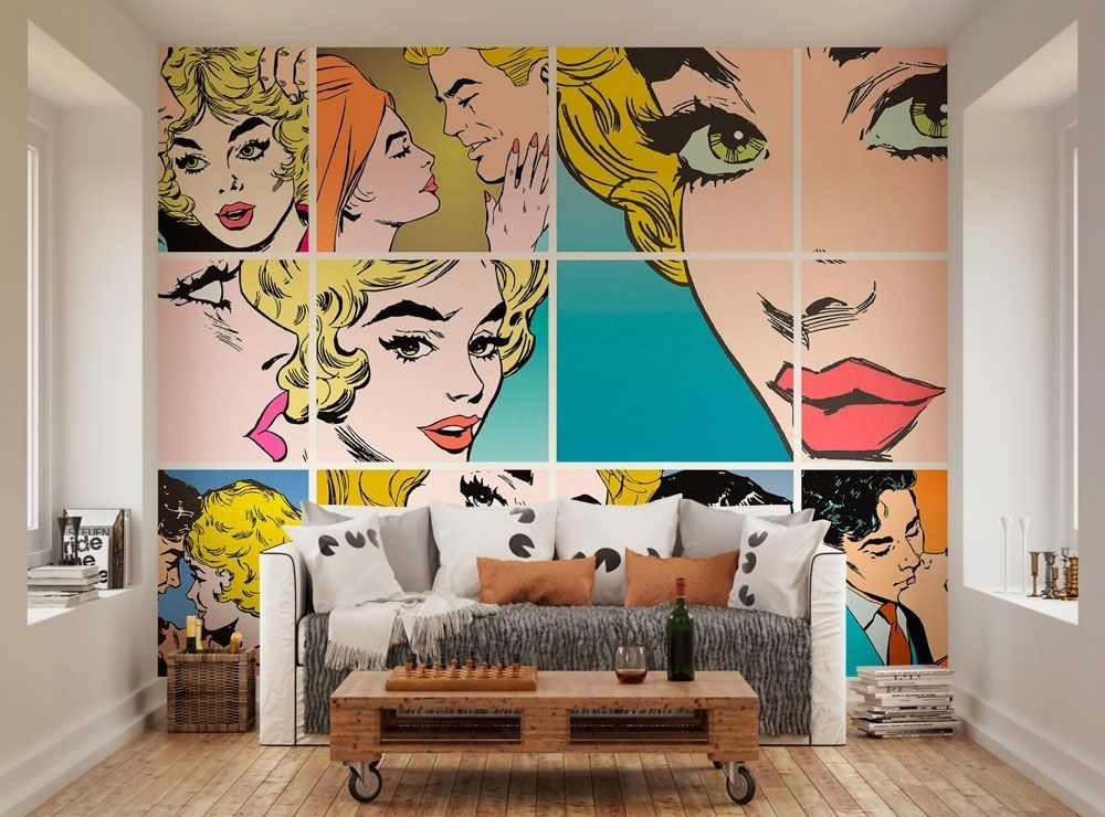 Ohpopsi couples kissing pop art wall mural by for Mural room white house