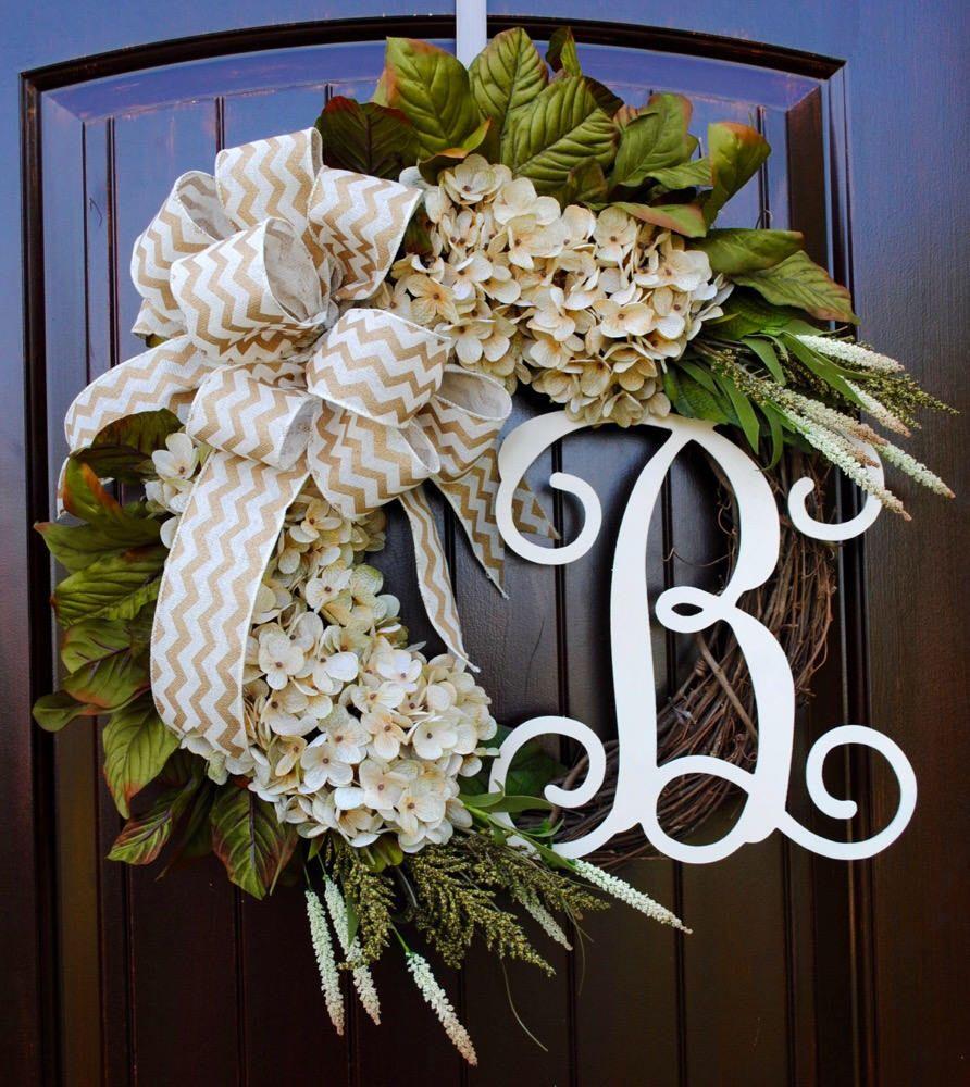 Cream Hydrangea Wreath With Monogram Letter Round Front Door Wreath Customized Decor Personalized Gift Spring And Summer Hydrangea Wreath Spring Wreath Wreaths