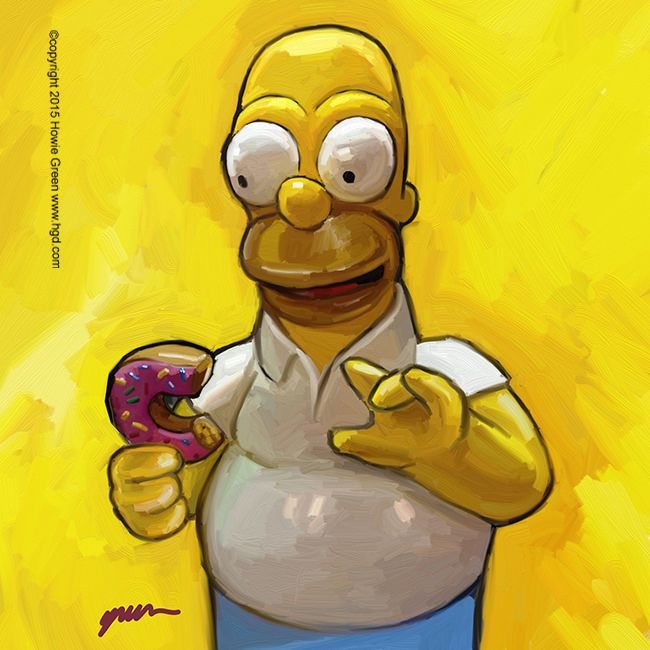 Homer Simpson Pop Art Painting By Howie Green Www Hgd Com