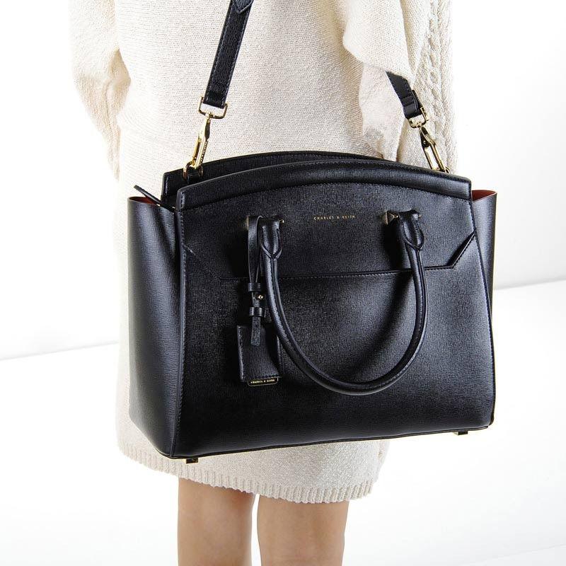 Zip Closure Work Bag - Black - Handbag - Bags | CHARLES & KEITH ...