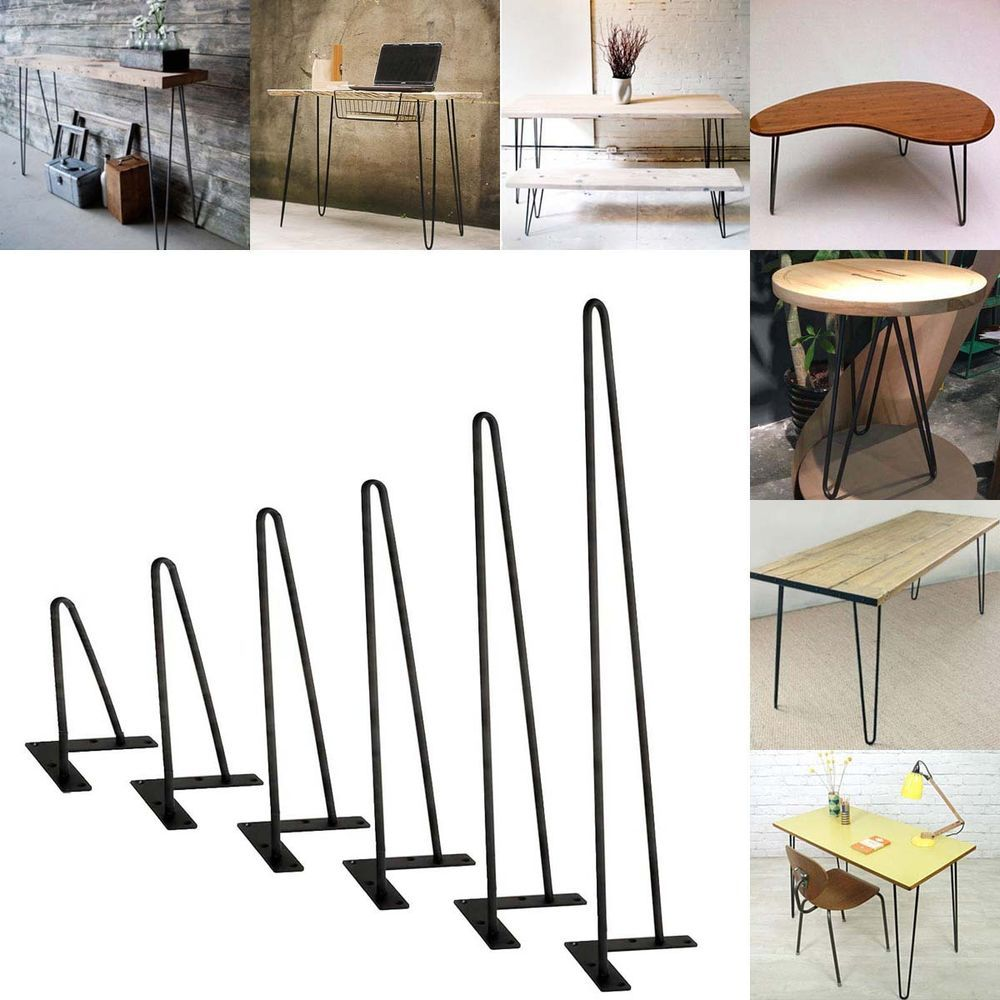 "4pcs Solid Metal Bar Hairpin Table Legs Set of 4 18/"" Table Desk Bench W// Screw"
