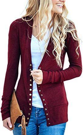 ef79251d00 NENONA Women s V-Neck Button Down Knitwear Long Sleeve Soft Basic Knit Snap Cardigan  Sweater at Amazon Women s Clothing store