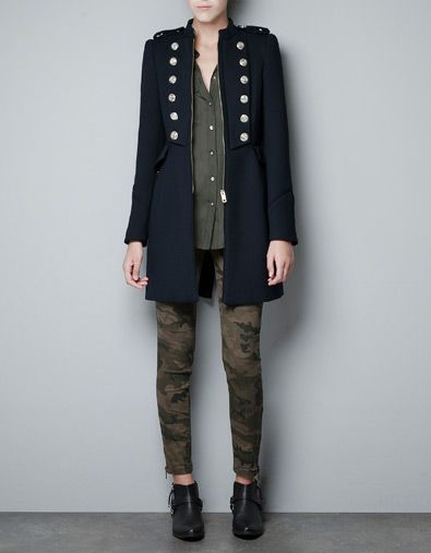 MILITARY COAT WITH GOLD BUTTONS - Coats - Woman - ZARA
