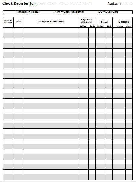 Super In-Depth Checkbook Project, Including Blank Check Register