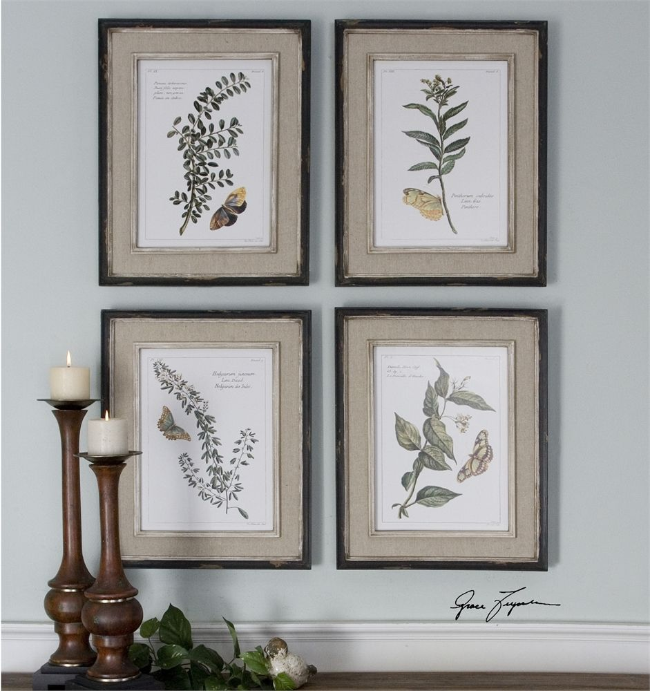 Uttermost Butterfly Plants Framed Art, S/4 17wx 21 h x 1 d #51079 ...