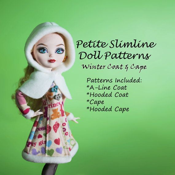 Coat and Hooded Cape winter Doll Clothes PDF Sewing Pattern for ...