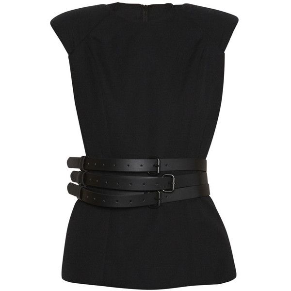 Belted Top Black ($150) ❤ liked on Polyvore featuring tops, shirts, blouses, blusa, wool tops, wool shirt, leather belts, shirt tops and belted shirt