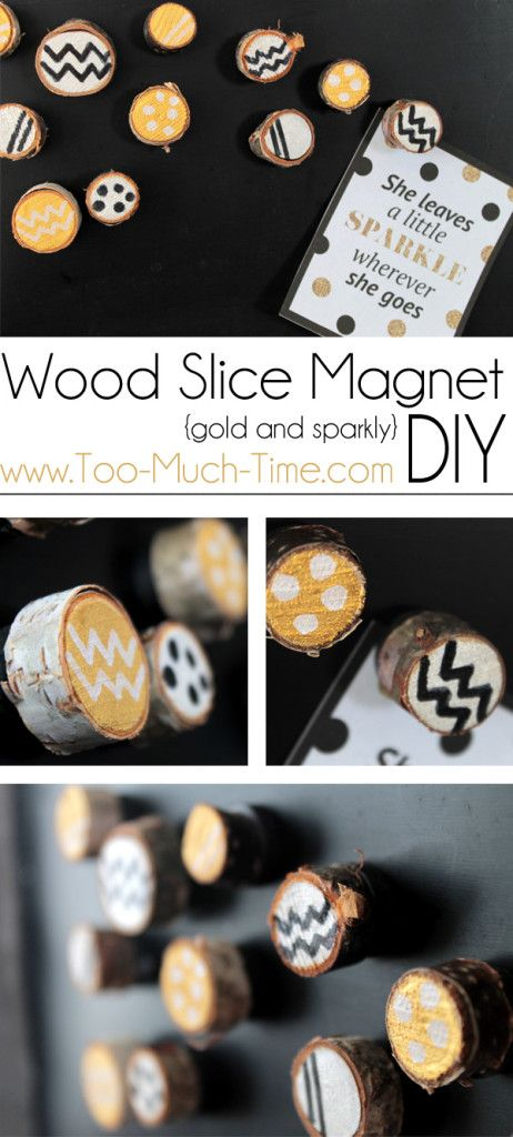 Gold And Silver Wood Slice Magnet Diygold And Silver Wood Slice