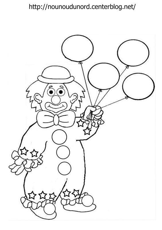 Coloriage Clown Ballon Dessine Par Nounoudunord Coloring Pages