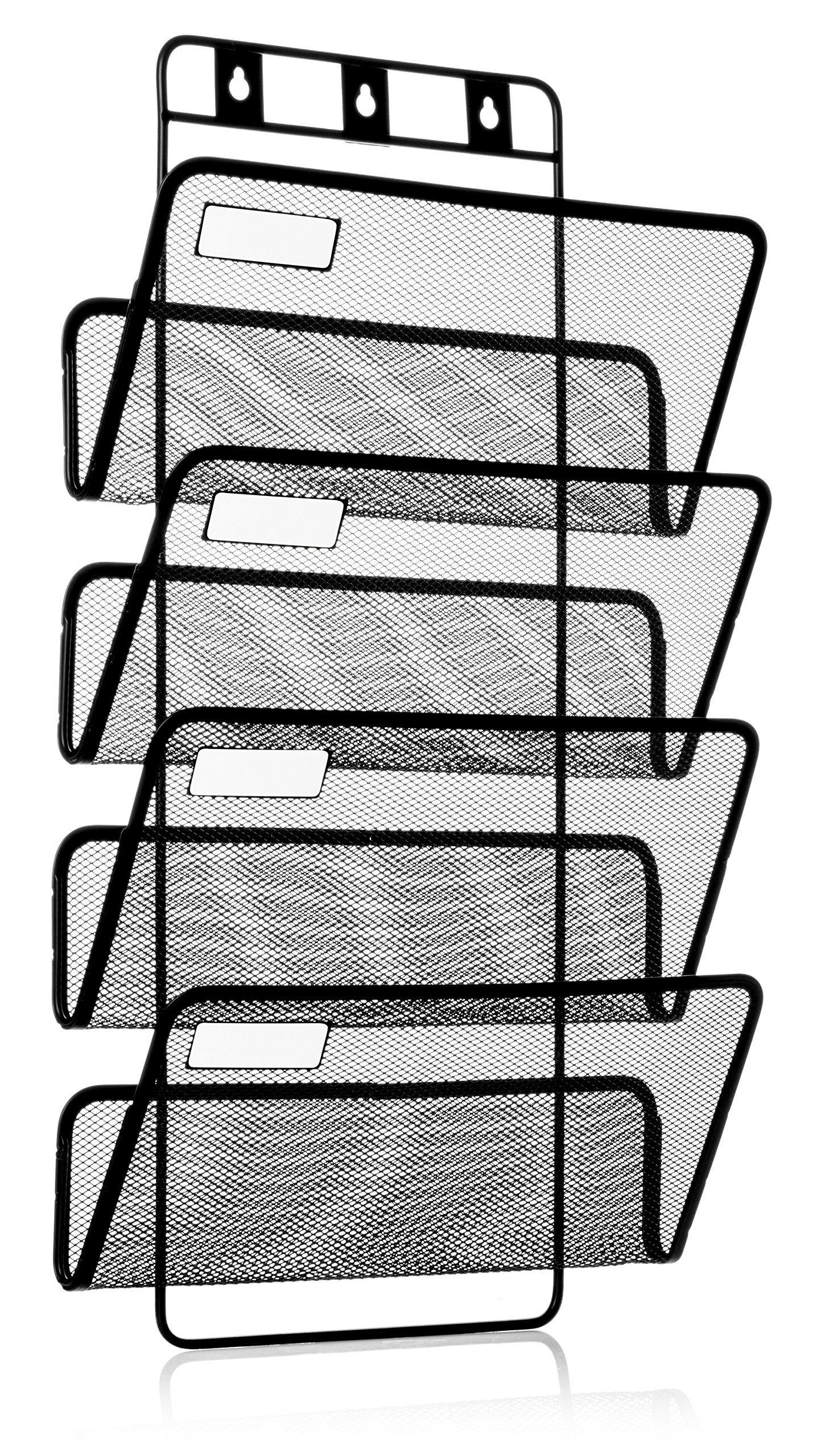Hanging Wall File 4-pocket hanging wall file organizer, folder holder + mounting