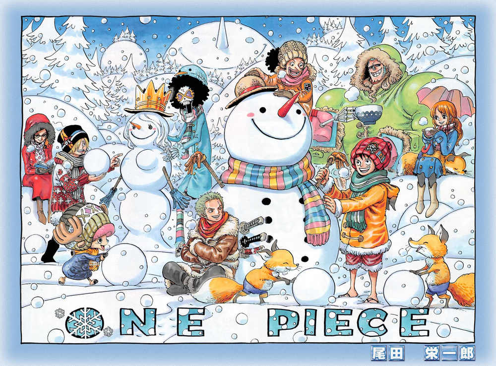 One Piece Color Spread : Chapter 733 (I love winter spreads. Highlights: Robin looks like an adorable mom, Sanji's putting boobs on a snowwoman, and Luffy looks like a little kid. Also, who makes Franky's clothes?)
