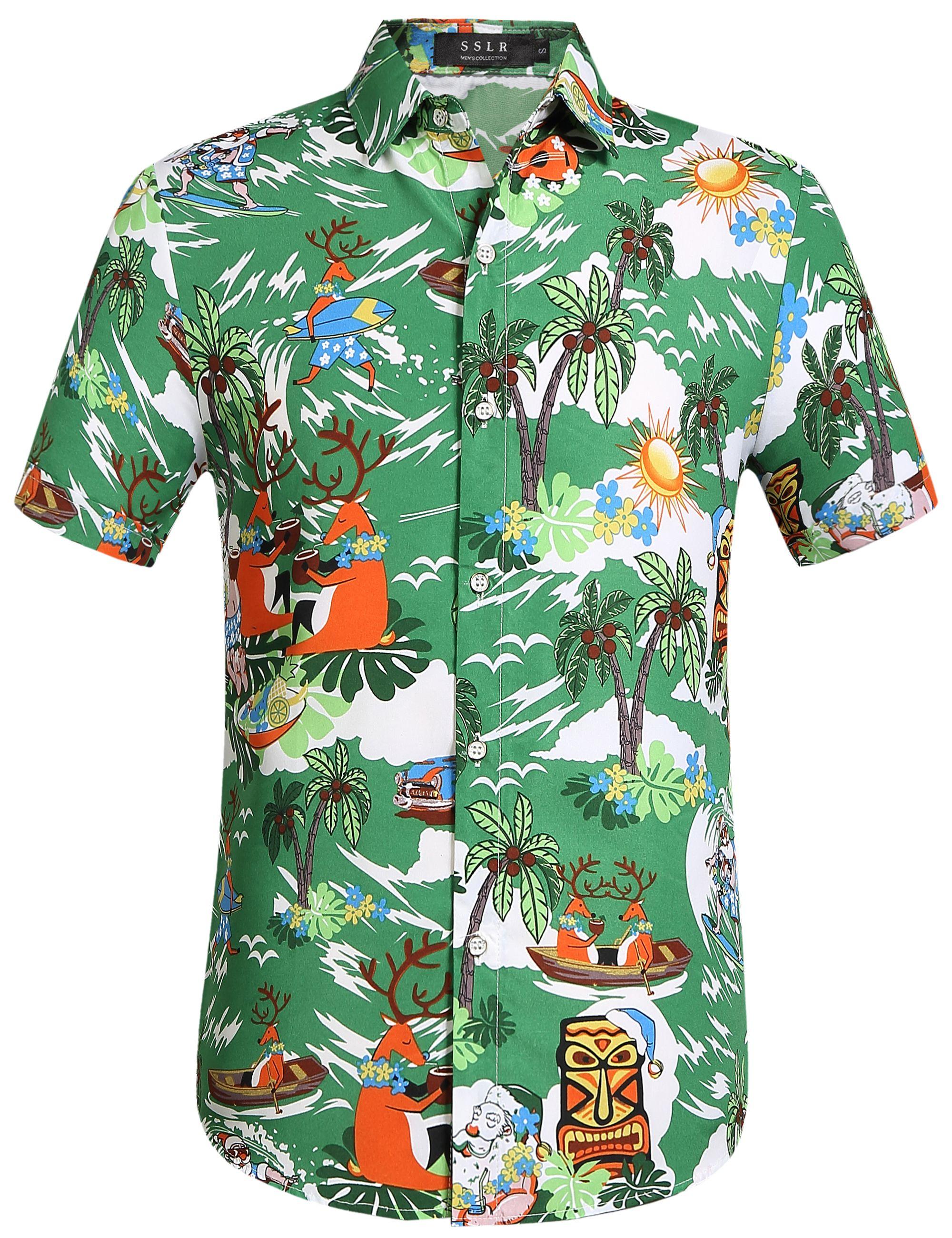 Christmas Hawaiian Shirts.19 00 Reindeer Hawaiian Shirt Christmas Party Outfit Lime