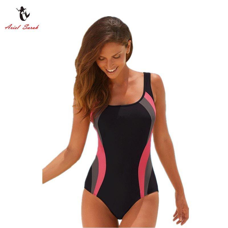 0970c1dd32 Ariel Sarah Brand 2017 Hot Solid Swimsuit Swimwear Women One Piece Swimsuit  Sexy Monokini Maillot De Bain Femme Bodysuit Q051-in One-Piece Suits from  Sports ...