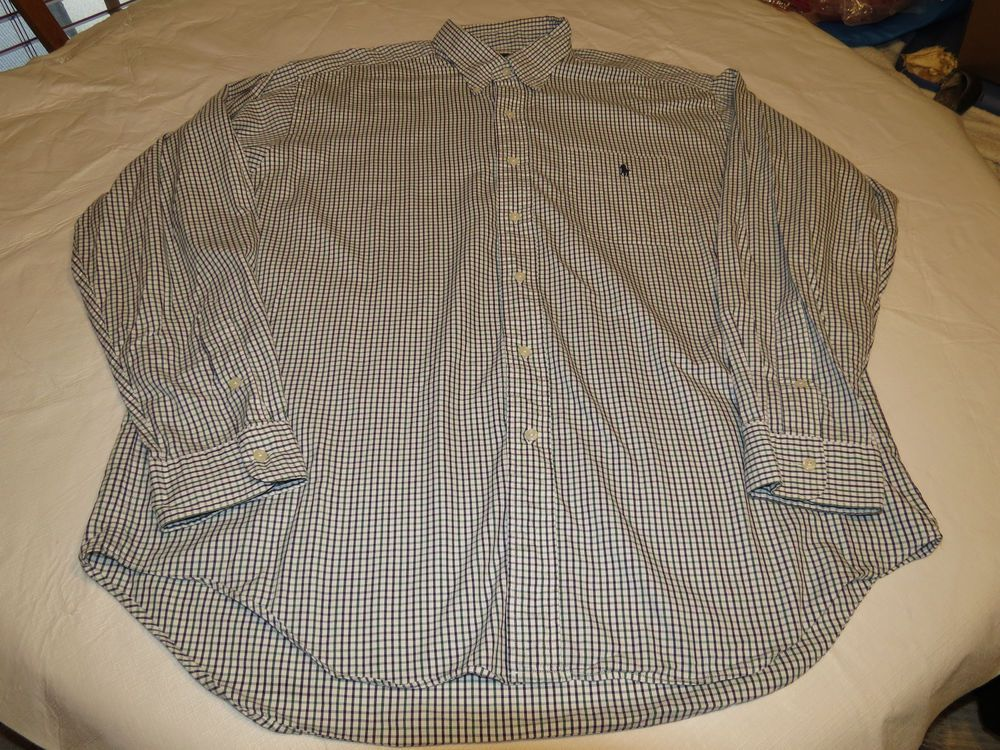 Mens Ralph Lauren XL Barlett button up shirt long sleeve plaid cotton EUC@ #RalphLauren #ButtonFront