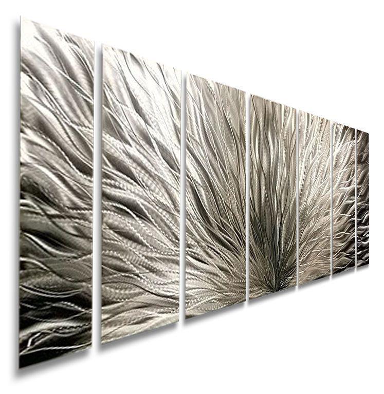 Modern abstract metal art wall sculpture silver home decor by artist jon allen also rh pinterest