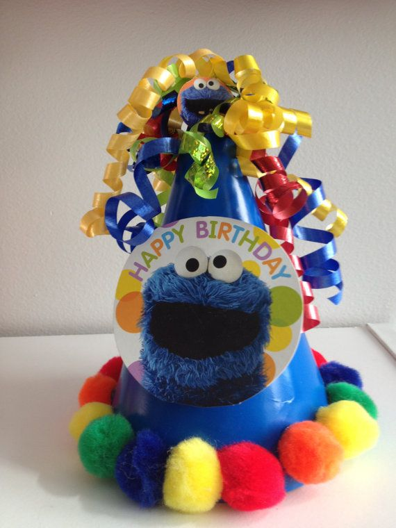 Cookie Monster Party Hat First Birthday Blue Sesame By MiaSophias 550