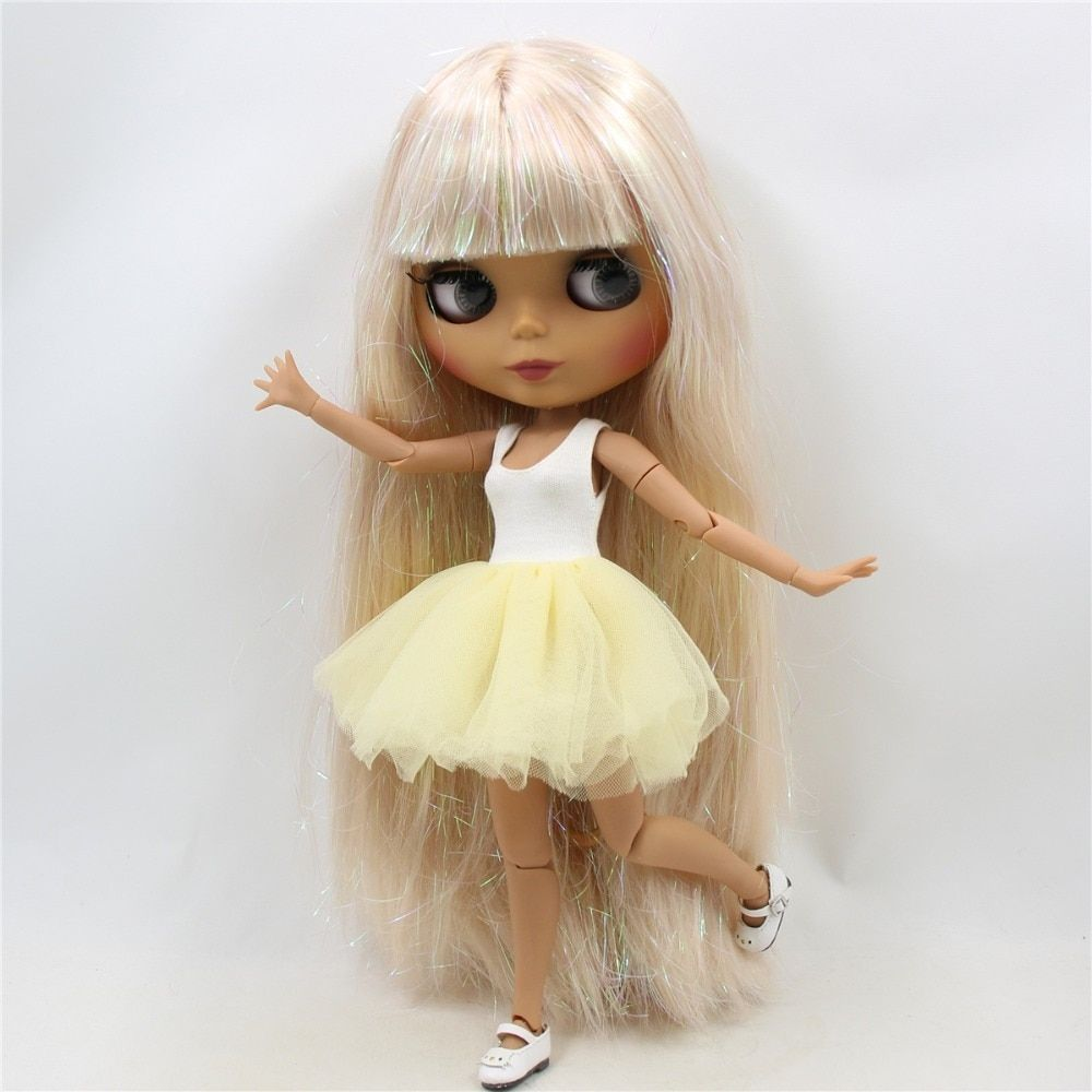 """12/"""" Neo Blythe Nude Doll From Factory Jointed Body Beige Long Straight Hair"""