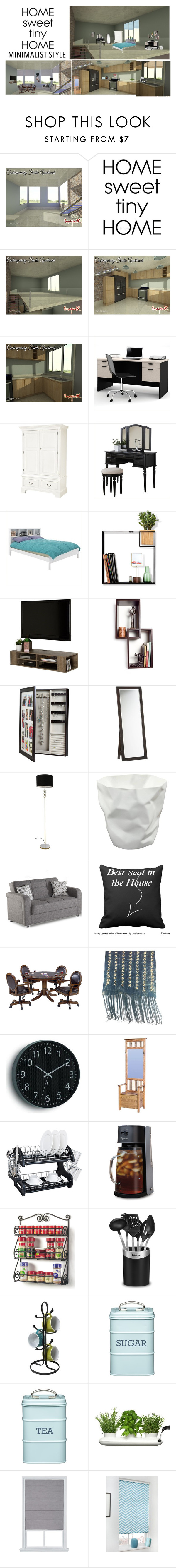 """Home Sweet Tiny Minimalist Home"" by pinky-dee ❤ liked on Polyvore featuring interior, interiors, interior design, home, home decor, interior decorating, Bestar, Poundex, Sonax and Umbra"